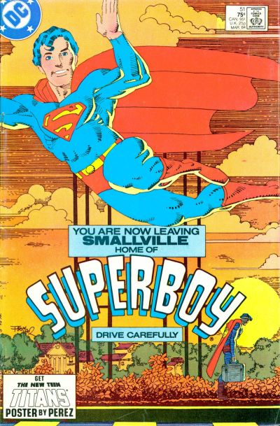 Cover to The New Adventures of Superboy #51 by Frank Miller